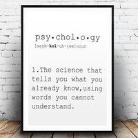 DEFINITION OF PSYCHOLOGY Funny Wall Art Printable Definition Name Definition Funny Poster Definition Print Definition Poster Typography Art