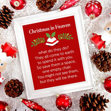Christmas In Heaven Poem With Chair Printable.Sugarpickledesigns On Etsy On Wanelo