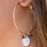 Purple Crystal Stone Large Gold Hoop Earrings