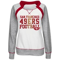 San Francisco 49ers Majestic Women's Counter IV Crew Fleece Sweatshirt - White/Gray