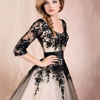 Ball Gown Scoop Neckline Long Sleeves With lace Dress PD1737