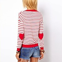 ASOS Heart Elbow Patch Jumper In Stripe at asos.com
