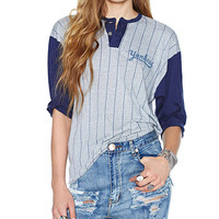 Striped Half Sleeve Two Buttons T-shirt