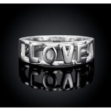 Silver Plated Love Letters Romantic Engagement Wedding Ring
