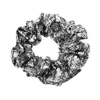 Silver Crackle Hair Scrunchie - Silver