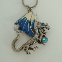 Dragon Pendant Necklace Blue Enamel Rhinestone Eye Round Snake Chain Jewelry