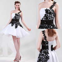 One shouder Lace Bridesmaids Formal Prom Ball Gown Evening Party Short Dresses