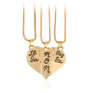 "3pcs/set Lettering ""Little Sis MOM Big Sis"" Love Heart Pendant Necklace Simple Special Gift For Mother Daughters Family Jewelry"