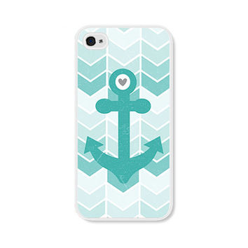 Ombre Chevron Turquoise Anchor iPhone 4 Case - Plastic iPhone 4 Cover - Nautical iPhone Case Skin - Turquoise Blue White Cell Phone