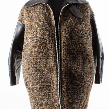 Brown, Black Wool Tweed Jacket with Leather Arms