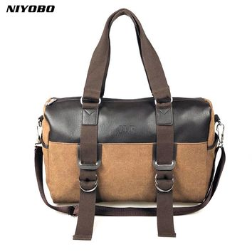 NIYOBO Large Capacity Vintage Canvas Men Handbag Luggage Travel Duffle Bags Leather Suitcases Weekend Shoulder Bag Travel Tote