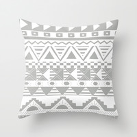 Aztec Grey Throw Pillow by Georgie Pearl Designs | Society6