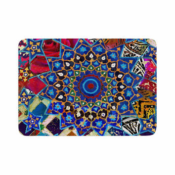"S Seema Z ""Ethnic Explosion"" Blue Arabesque Memory Foam Bath Mat"