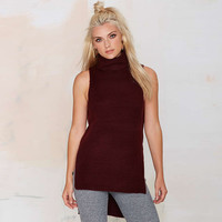 Red Wine Turtleneck Sleeveless High-Low Side Slits Rib Knit Top