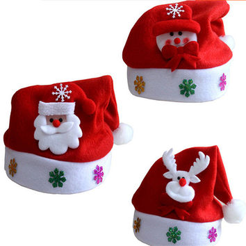 Santa Claus Snowman Reindeer Xmas Hat for Children Kids Christmas Gifts Party Supplies New Year Gifts