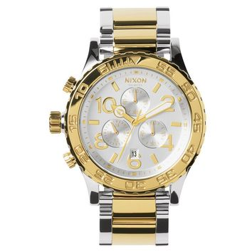 Nixon The 42-20 Chrono Watch in Silver/Champagne Gold