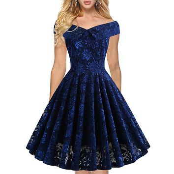 2020 new women's word shoulder lace dress gown