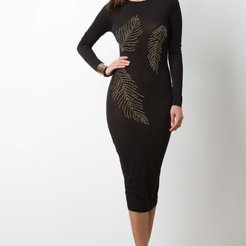 Semi-Sheer Stud Feather Embellishment Midi Dress