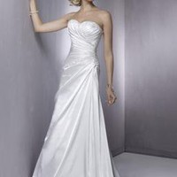 Strapless Beaded Satin A-line/Princess Simple Wedding Dress