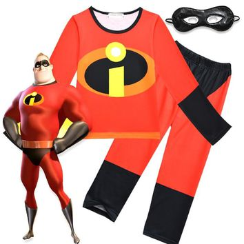 Kids The Incredibles 2 Clothing Set Boy's Girl's Cartoon T Shirt Pants Mask Children's Nightgown Halloween Cosplay Costume