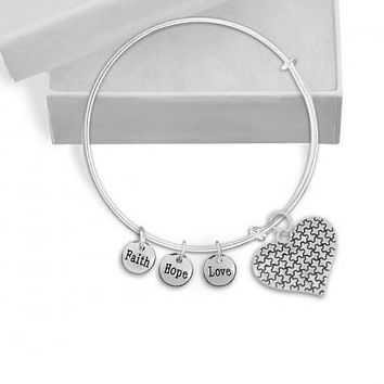 Autism Puzzle Piece Heart and 3 Charms bracelet