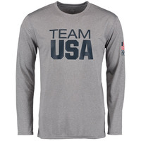 Men's Heathered Gray Team USA Coast to Coast Performance Long Sleeve T-Shirt