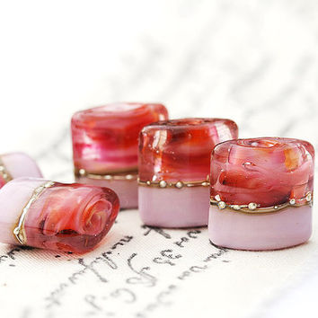 Pink beads handmade lampwork glass Valentines Day by MayaHoney