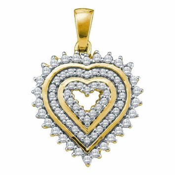 10kt Yellow Gold Women's Round Diamond Concentric Heart Pendant 1-3 Cttw - FREE Shipping (US/CAN)