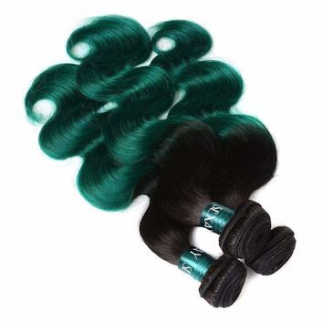 Turquoise Brazilian Human Hair Weaves Ombre T1B/Green