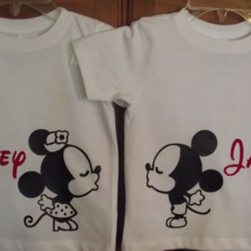 2 Shirts - Kissing Minnie Mouse and Mickey Mouse - Disney Wedding Anniversary Love Custom T-Shirt Personalized Applique Top