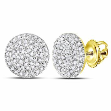 10kt Yellow Gold Mens Round Diamond Circle Cluster Earrings 5/8 Cttw