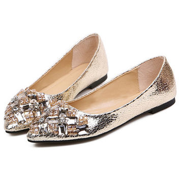 Bejeweled Pointed-toe Flats