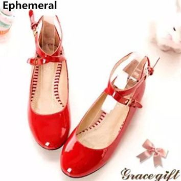 Ladies Big size(4-12)Buckle strap Patent leather round Closed toe Flat with thin shoes women Single Casual summer style Driving