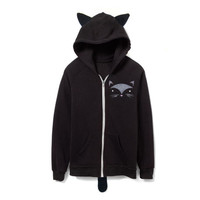 Geo Black Cat Hoodie - Fleece Hooded Zip Sweatshirt with Ears and Tail in Black and Grey - Unisex Size XXS XS S M L XL 2XL