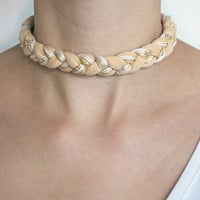 Beige braided choker necklace, braided necklace, fabric necklace, nude necklace