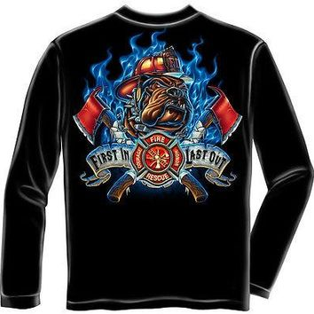 New FIREFIGHTER FIRST IN LAST OUT FIRE DOG LONG SLEEVE SHIRT