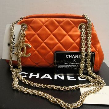Chanel Just Mademoiselle Red Satin Quilted Mini Bowling Shoulder Clutch Bag 11P