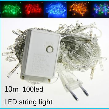 Led string lights AC110V AC220V 10M 100leds colorful led lighting waterproof outdoor decoration christmas tree
