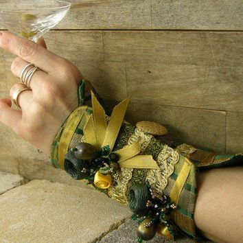arm cuff in dark green and gold repurposed brocade by piabarile
