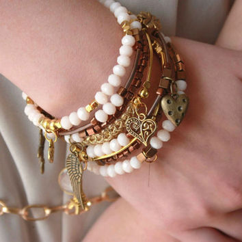 Beige wrap woven ribbon bracelet Arm candy with charms France symbol jewelry gift Charmed arms bangles girls gold bijoux jewellery set