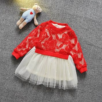 Spring Autumn Casual babys infant girls sweet Rose Flowers lace Bead mesh patchwork long sleeve princess dress Y2556