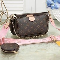 LV Three Piece Suit Bag Louis Vuitton New fashion Handbag Leather Crossbody Bag Pink