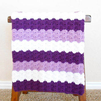 Purple Crochet Baby Blanket - Baby Shower Gift for Girls - Hand Made Baby Blanket - Machine Washable Baby Blanket - Crochet Baby Afghan