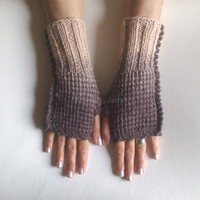 Fingerless gloves brown beige  gloves cozy gloves wool gloves free shipping