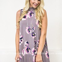 Lavender Petals Pocket Dress