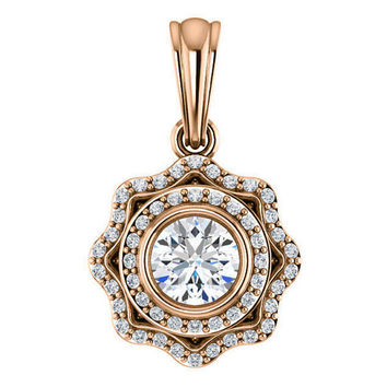 celeste necklace - forever one moissanite pendant, diamonds, 14k rose gold