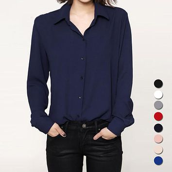 Fashion Women casual tops Long Sleeve Chiffon Shirt Blouse Simple spring women's plus size blusas chemise femme