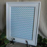 White framed dry erase board with aqua blue chevron, framed dry erase board, message board, menu board, grease board, wipe off board, memo