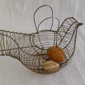 Wire Chicken Egg Basket with Rock Eggs
