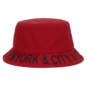 New York & City N.Y.C Adult Unisex Red & Black Casual Summer Beach Flat Bucket Hat